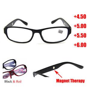 Reading Glasses +4.5 +5.0 +5.5 +6.0 Optical Lens Black/Red Plastic Frame Reader