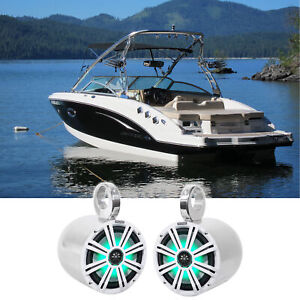 "2) KICKER 45KM84L 8"" 600 Watt Marine Boat Wakeboard Tower Speakers w/LED's KM8"