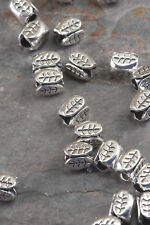 Lot of 10 Pcs 7mm x 5mm Antique Silver Alloy Barrel Plate Leaf Tube Spacer Beads