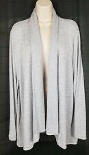 LOFT Ribbed Draped Open Sweater Cardigan Gray Marled NEW XL
