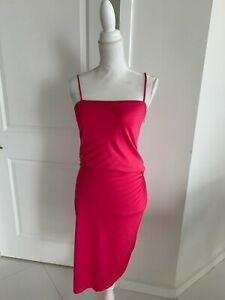 Halston Heritage Hot Pink Jersey Spaghetti Strap Cocktail Dress SZ 2 XS