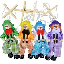 Pull String Puppet Clown Wooden Marionette Handcraft Toys Joint Doll Kids Gifts