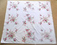 Vintage Red Roses Floral White Tablecloth Genuine Wilendur 48 1/2 x 52