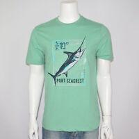 NWT G. H. BASS Fishing Graphic Logo Cotton Green Tee T-Shirt Sz M