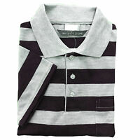 NEW MENS POLO SHIRT STRIPED T-SHIRT SHORT SLEEVE CASUAL SPORTS SIZE S - 3XL GOLF