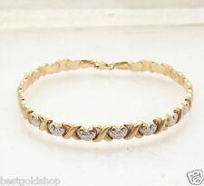 Diamond Cut Heart & Kisses Stampato Bracelet Real 14K TriColor Yellow Rose Gold
