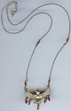 VINTAGE STERLING SILVER RED GLASS DANGLES EGYPTIAN GODDESS ISIS NECKLACE