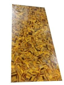"60"" x 36"" Marble Table Top Tiger Eye Inlay Semi Precious Stones Handicraft Work"