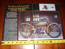 1919 HARLEY DAVIDSON SPORT MODEL - ORIGINAL 1983 ARTICLE