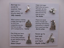 Wedding charms for scrapbooking, card and jewelry making - 7 charms with quotes