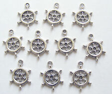 """15 Metal Antique Silver """"Captain's Wheel"""" Charms - 20mm"""