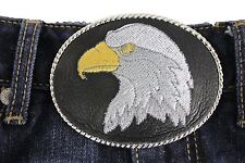 American Eagle Bird Head Black Leather Men Women Silver Metal Oval Belt Buckle