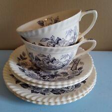 Vintage Windsorwear Johnson Bros Charcoal Apple Blossom Tea Cup & Saucer Sets