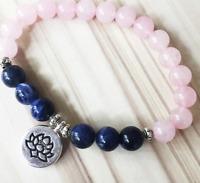8mm roselazuli bracelets Stretchy Bless energy Sutra Wrist Monk mala Stretchy