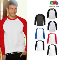 Men's Long Sleeve Baseball Tee - Fruit of the Loom Casual T-shirt Raglan Top