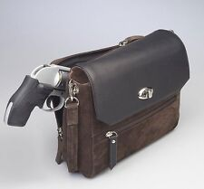 Gun Tote'n Mamas GTM-87 Concealed Carry Suede Hand Clutch Brown w/ Leather Flap