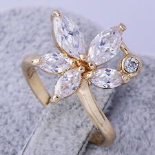 Womens Fashion Cubic Zirconia Flower Rings 14K Gold Filled Wedding Rings Size 8