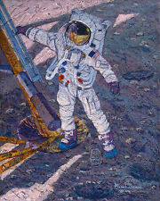 Alan Bean FIRST HUMAN FOOTPRINT, NEIL ARMSTRONG, Apollo 11 giclee canvas #82/100