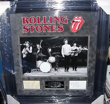 THE ROLLING STONES  MICK BRIAN KEITH BILL CHARLIE SIGNED MONTAGE AFTAL