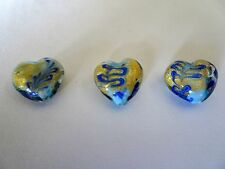 Puffed Heart Murano Lampwork Glass Beads gold Foiland  Blues Quantity 3