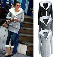 Womens Hooded Jacket Fur Lined Coat Top Zipper Winter Warm Hoodie Parka Outwear