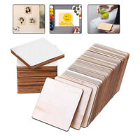 20/60Pcs Wooden Squares Cutout Tiles Wood Pieces for Coaster DIY Crafts 10×10cm