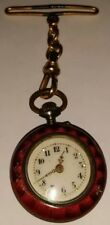 Antique Cloisonne Enameled Gold Inlay Womens Pocket Pendant Watch