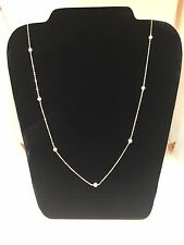 Rose Gold Plated Sterling Silver 92.5 Long Chain Necklace CZ 30 inches
