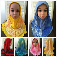 Muslim Children Hijab Girl Soft Hat Double Lace Hijab Islam Headscarf Scarfs