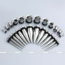 28pc Mixed Gauges Ear Tapers Tunnels Plugs Expander Stretcher Stretching Kit Set