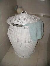 Wäschekorb aus Rattan neu mit Futter Farbe weiß