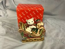 Fitz & Floyd Father Christmas Dog / Cat Salt and Pepper Shakers with Sleigh