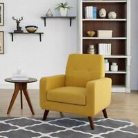 Modern Accent Fabric Chair Single Sofa Arm Chair Living Room Furniture Yellow