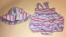 Baby Gap Infant Girl 0-3 Months Striped Bubble Romper Outfit & Matching Hat EUC