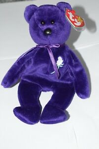 TY Beanie Baby Princess Diana Memorial Bear P.E. Pellets 1997 RETIRED in Case