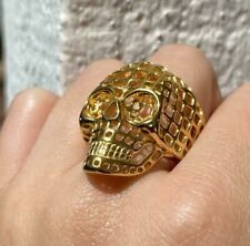 Men's 925 Sterling Silver Customized Fully Cutout Theme Skull Head Top Ring