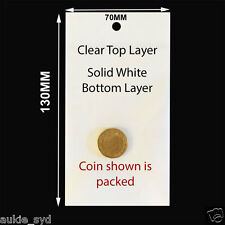 100 pcs 130X70MM Self Adhesive Clear/Solid White Plastic Jewellery/Gift Bags