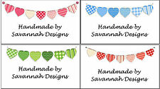Hearts Bunting Personalised Craft Handmade Stickers ~ mini or medium size labels