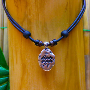 Necklace Zodiac Sign Chain Surfer Surferhalskette Leather Horoscope