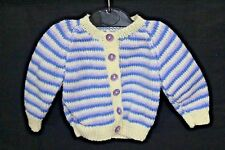 Hand Knitted Baby Cardigan in Yellow Blue and Mauve Stripes. 3-6 Months