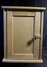 WALL MOUNTED UNFINISHED PINE KEY HOOK CABINET - Hinged Door w/Knob Handle