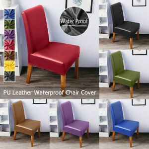 PU Leather Chair Cover Waterproof Slip Covers Dining Wedding Banquet Decor