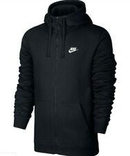 Nike Men's Sportswear NSW Club Fleece Hoodie Full-Zip Black White Size S NEW!