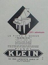 PUBLICITE PIANOS KLEIN LE PIANO A QUEUE FANTAISIE MUSIQUE DE 1949 FRENCH AD PUB