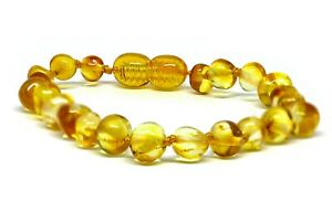 Genuine Baltic Amber Bracelet/Anklet or Necklace, Beads Knotted, sizes 14-25 cm