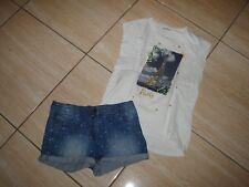"""Ensemble  fille 14 ans short jean + T shirt """"Paris"""" marque Vert baudet..."""