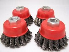 """(4-pack) 2.5"""" Knot Cup Brush M10x1.25 angle grinder wire m10"""