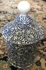J Kent Ltd Staffordshire Blue White Jar with Lid Made In England Flowers Chintz