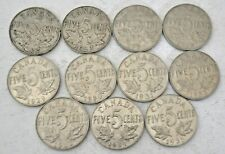 11 CANADA COINS, GEORGE V 5 CENTS, 1922-1935 MOSTLY EF-UNC