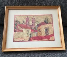 F.L. Felipe Olay STRAW MOSAIC Mexican Folk Art FRAMED Popotillo Street Scene
